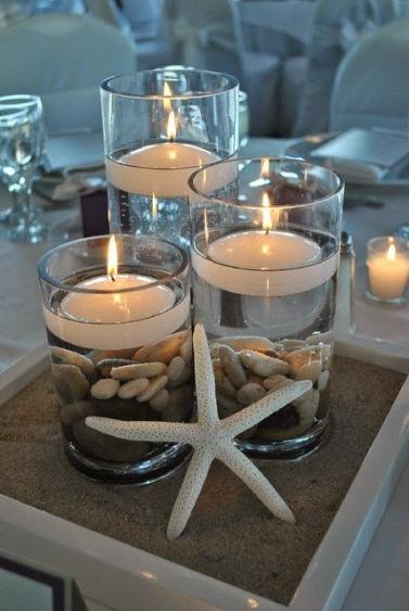 Resultado de imagem para decoração com vela, planta e água